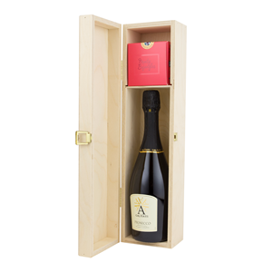 Image of One Bottle Hinged Wooden Wine Box with Shelf