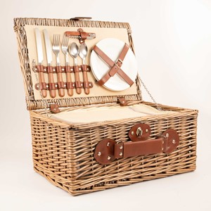 Image of Cream Lined Picnic Basket (2 Person)
