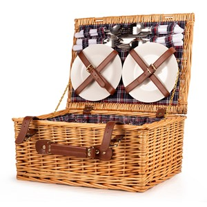 Image of 4 Person Fitted Wicker Picnic Basket