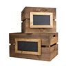 Image of Large Rustic Wooden Crate with Framed Chalkboard Panel