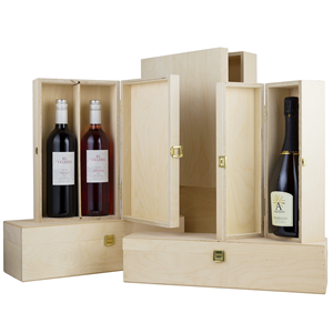 Image of Hinged Lid Wine Boxes
