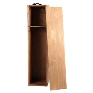 Image of Gold Cedar - 1 Bottle Box with Sliding Lid and Shelf