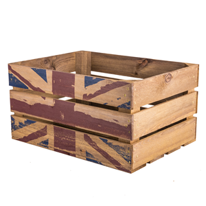 Image of Large Rustic Wooden Crate Printed Union Jack