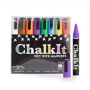 Image of Chalk It Wet Wipe Liquid Chalk Markers - Pack of 8 - Assorted (6mm)